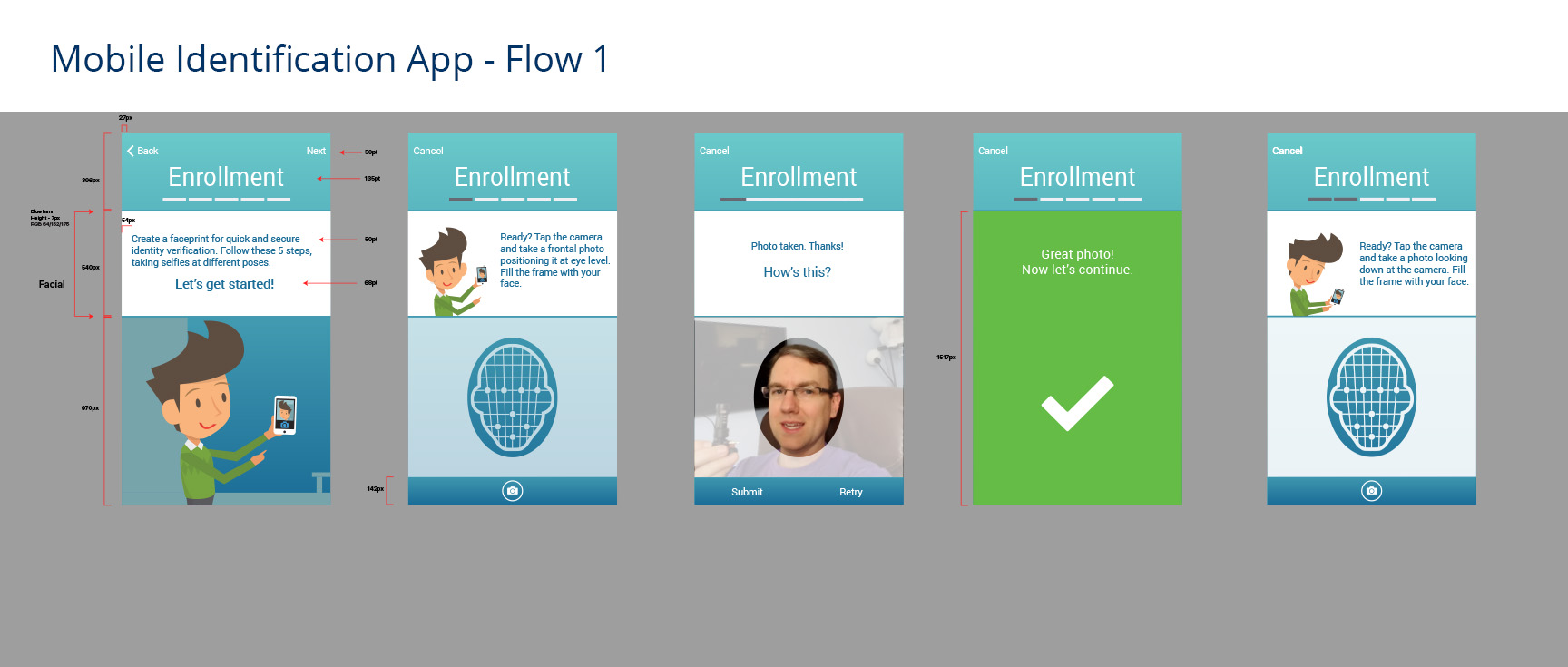 1st screen for user journey through enrollment process