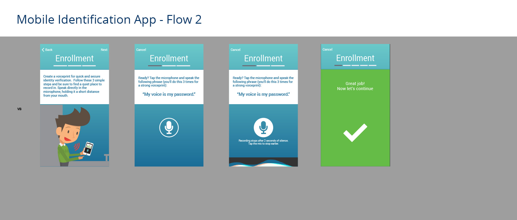 2nd screen for user journey through enrollment process